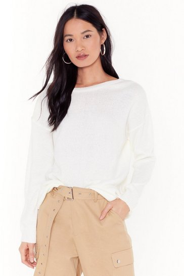 Womens Cream Give Knit Your Best Shot Relaxed Sweater