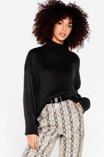Black Slouchy Knitted Turtleneck Sweater