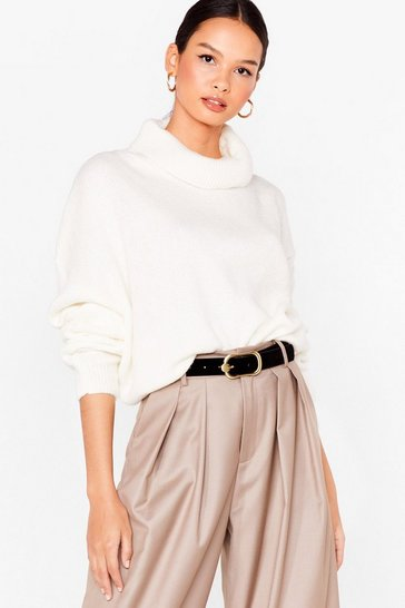 Cream Show 'Em How Knits Done Turtleneck Sweater