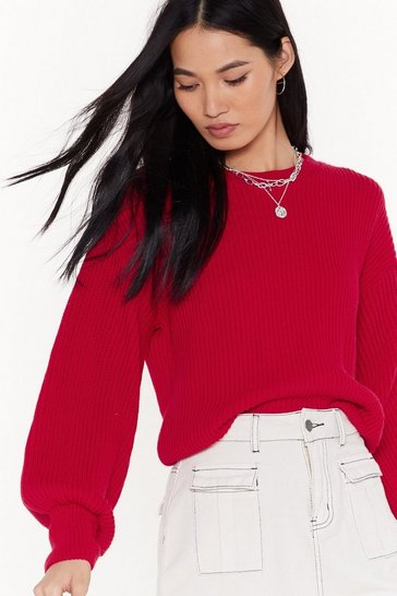 Womens Red Make Knit Happen Balloon Sleeve Sweater