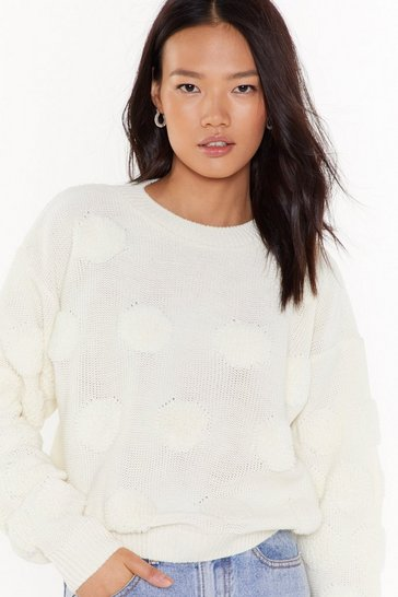 Womens White Havin' a Ball Knit Pom Pom Sweater