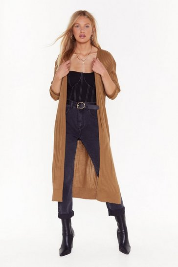 Womens Camel Long Time Coming Ribbed Longline Cardigan