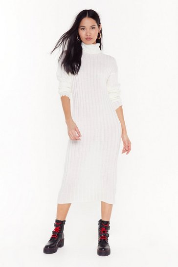 Ecru Take Knit to the Maxi Ribbed Dress