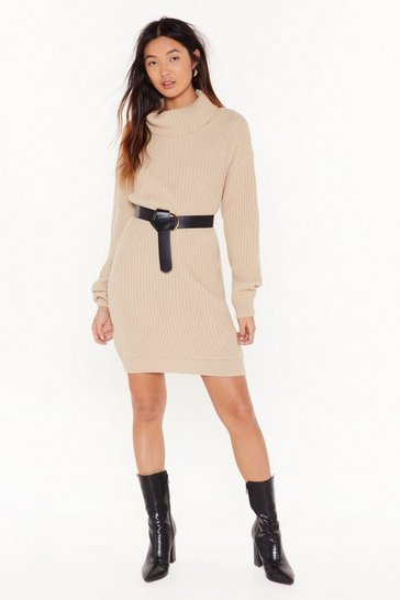 Womens Stone Sweater Together Turtleneck Mini Dress