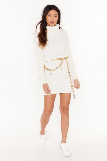 Womens White Sweater Together Turtleneck Mini Dress