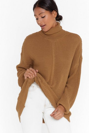Womens Camel Take Knit or Leave Knit Ribbed Turtleneck Sweater