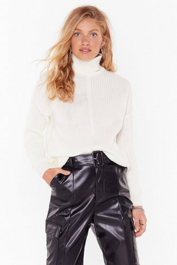 Cream Take Knit or Leave Knit Ribbed Turtleneck Sweater