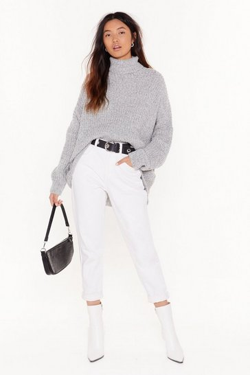 Grey As You Like Knit Turtleneck Sweater