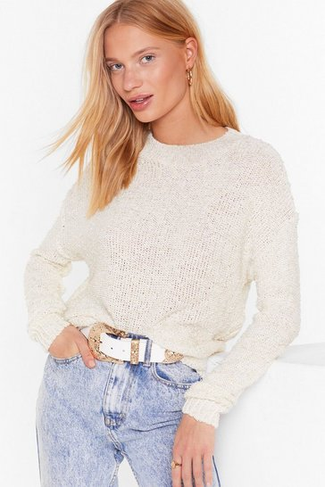 Womens Cream Take Knit Easy Oversized Sweater