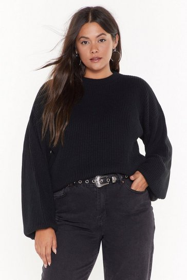 Black Knit Down Plus Balloon Sleeve Jumper