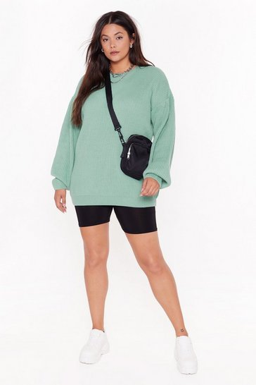 Sage Knit Down Plus Balloon Sleeve Jumper