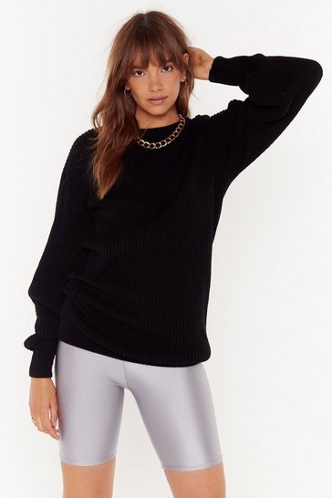 Womens Black Knit Down Balloon Sleeve Sweater