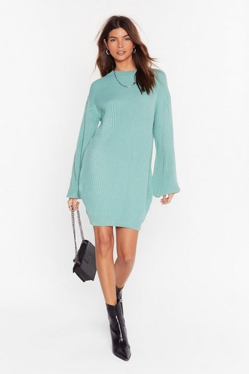 Womens Sage Knit Down Balloon Sleeve Sweater
