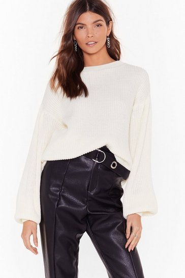 White Knit Down Balloon Sleeve Sweater