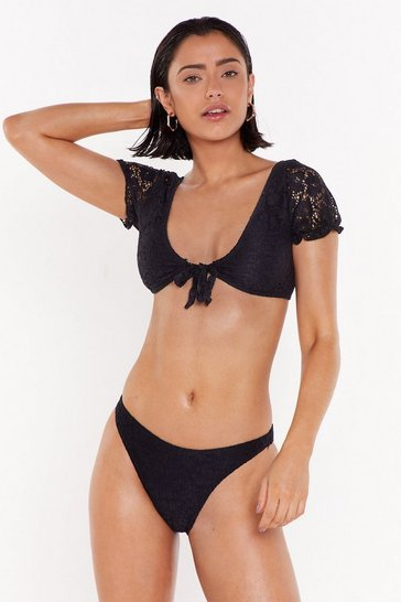 Womens Black Best Lace to Pool Down Crochet Bikini Set