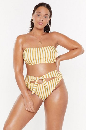 Womens Cream Soaking Up the Sun Plus Striped Bikini Set