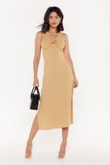 Womens Stone Open for Business Side Slit Midi Dress
