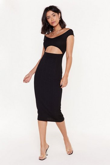 Womens Black Love Me If You Bare Cut-Out Bandage Midi Dress