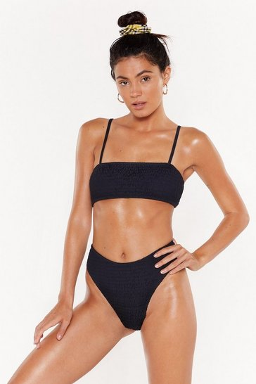 Womens Black Shirring Good High-Waisted Bikini Set