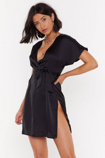 Black Call In Slick Satin Dress