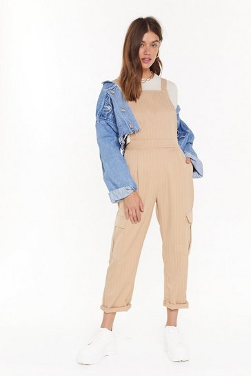 Womens Beige Drop Me a Line Pinstripe Overalls
