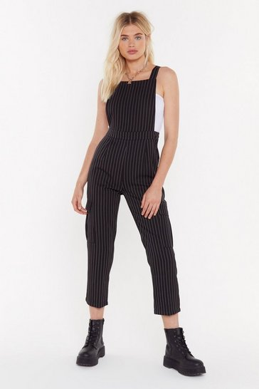 Womens Black Drop Me a Line Pinstripe Overalls