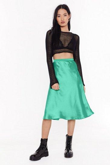 Jade Just My Type Satin Midi Skirt