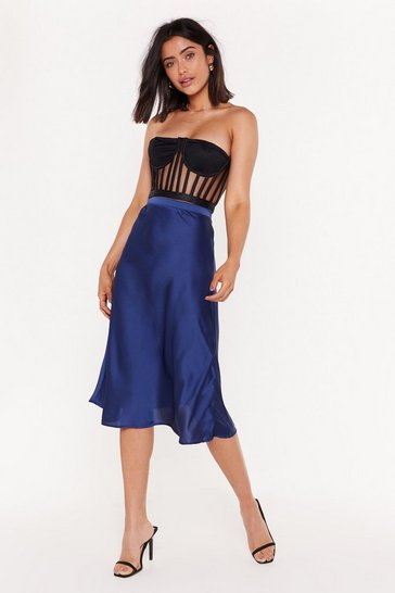 Midnight Just My Type Satin Midi Skirt
