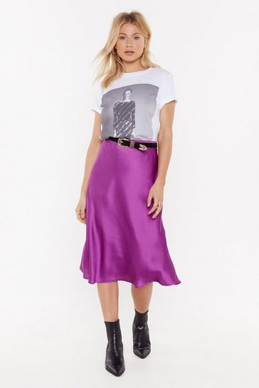Womens Violet Just My Type Satin Midi Skirt