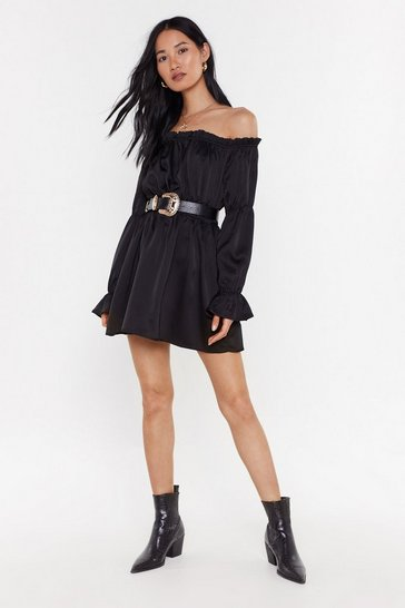 Womens Black Stretch the Rules Off-the-Shoulder Satin Dress