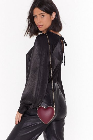 Womens Wine WANT What the Heart Wants Faux Leather Crossbody Bag