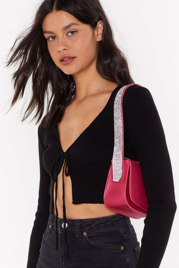 Raspberry WANT Get Your Shine On Diamante Shoulder Bag