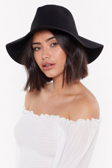 Womens Black Hats Off to You Wool Fedora Hat