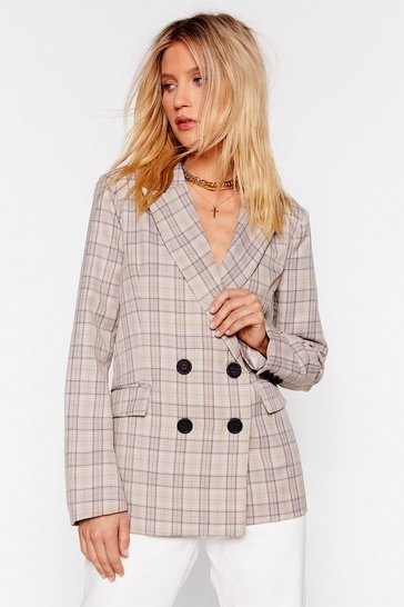 Womens Beige What the Check Double Breasted Blazer