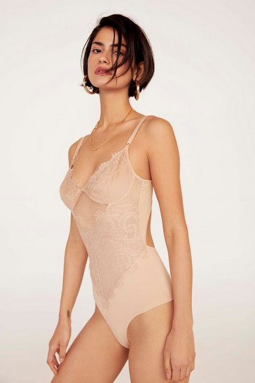 Womens Nude Lace Get It On Fishnet Bodysuit
