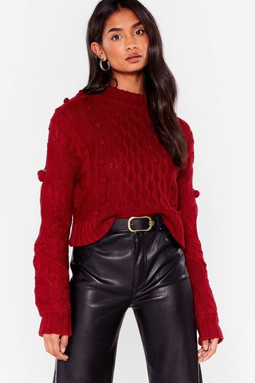 Womens Burgundy Pom Pom With the Wind Cable Knit Sweater