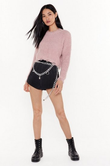 Womens Rose You're Nothin' But Trouble Distressed Cropped Sweater