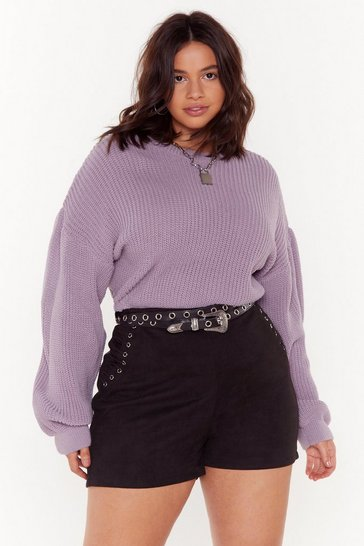 Womens Lilac Coming Balloon Sleeve Plus Knit Sweater