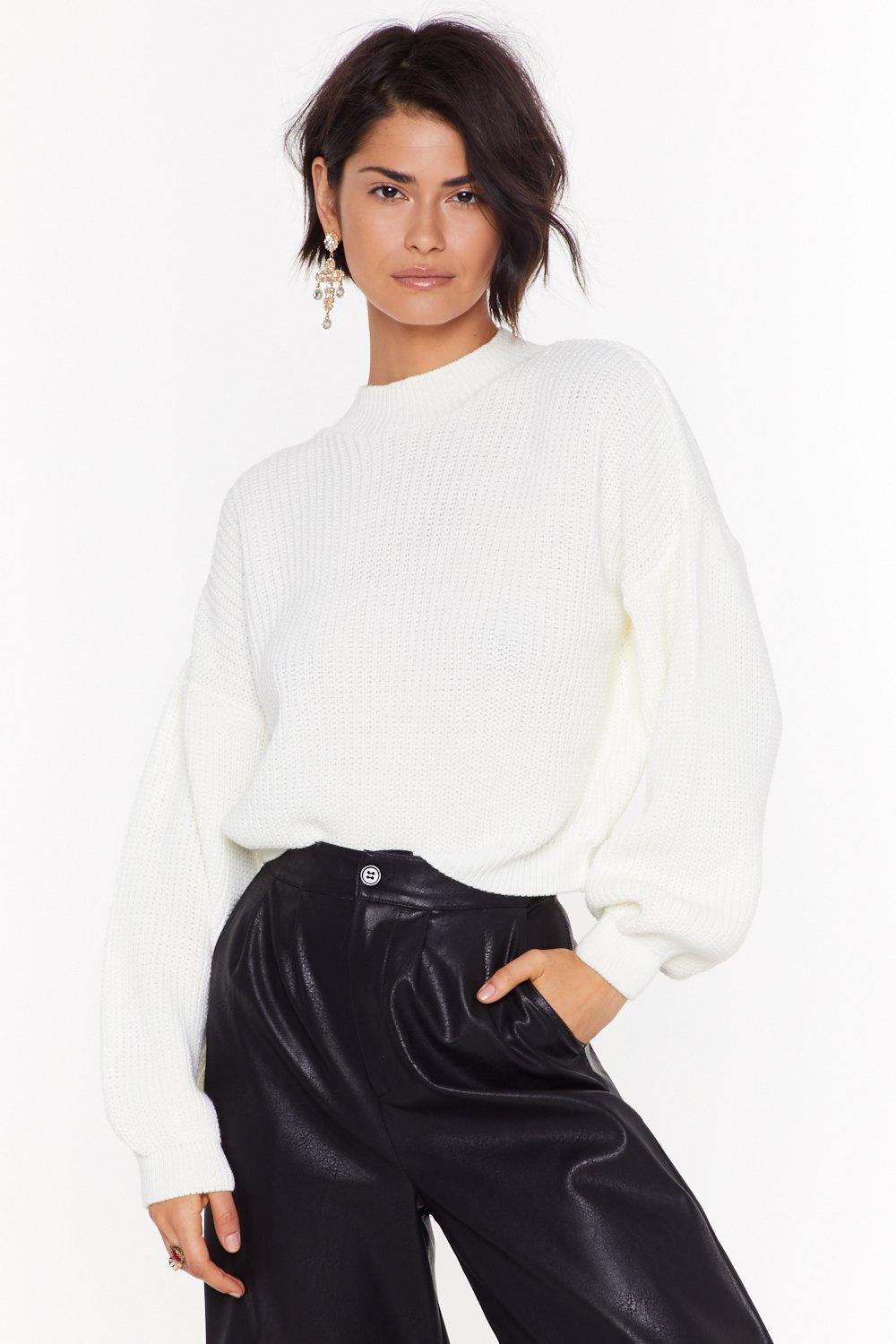 Rib Balloon Sleeve Gown On Neck Jumper by Nasty Gal