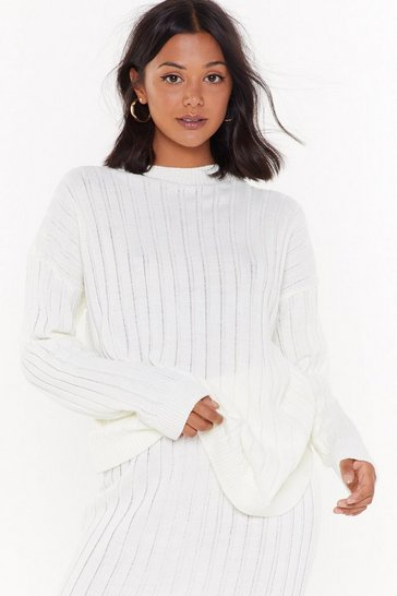 Womens Cream Meet the Crew Ribbed Knit Sweater
