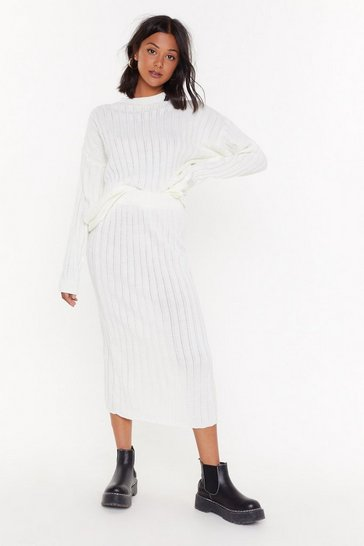 Womens Cream Meet the Crew Ribbed Midi Skirt