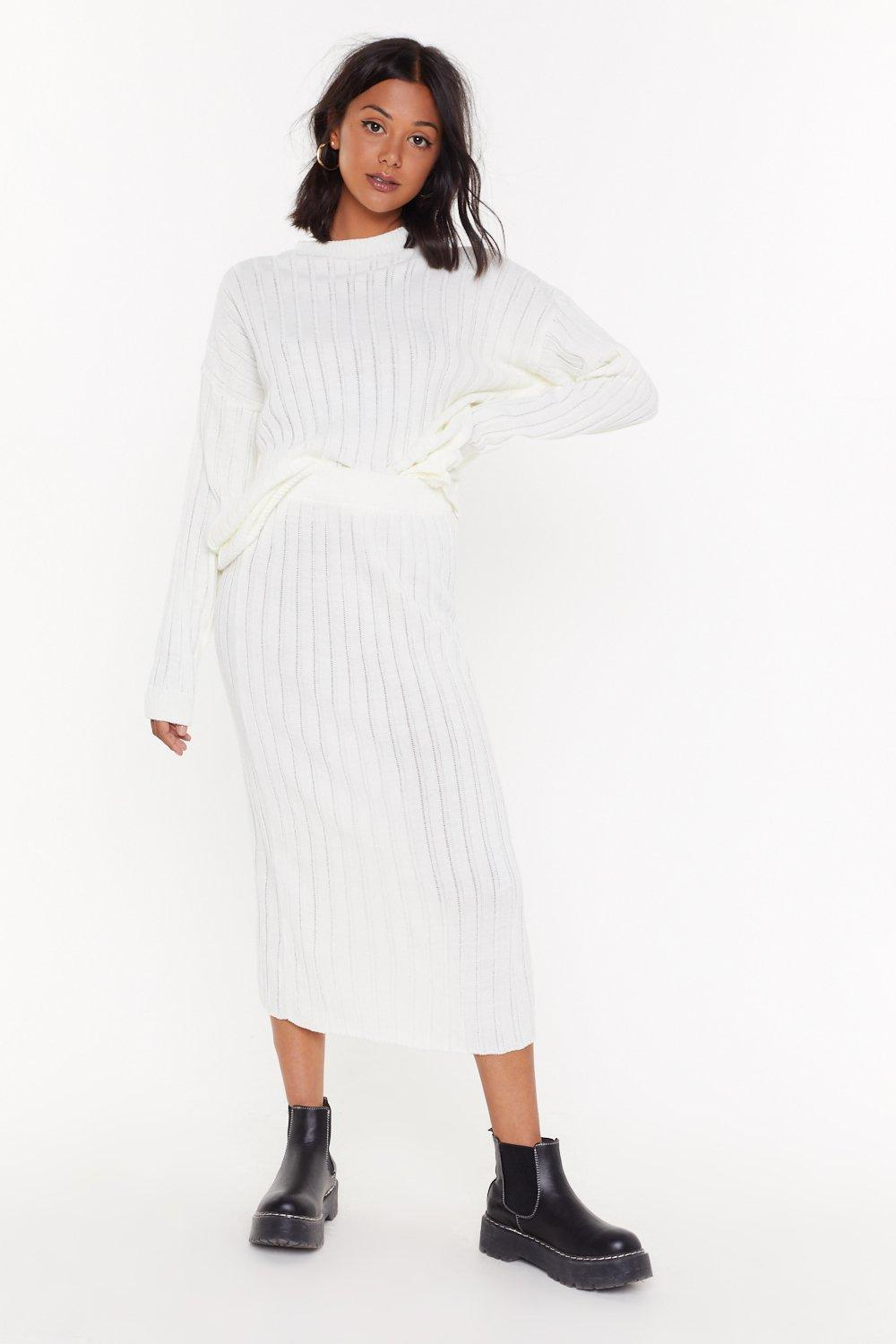 Meet The Crew Ribbed Midi Skirt by Nasty Gal