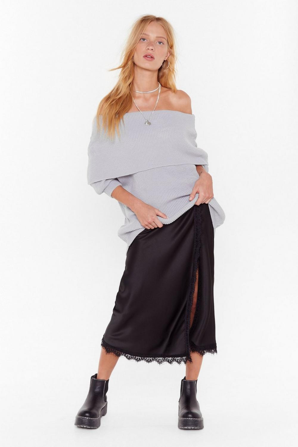 Call Knit Off The Shoulder Ribbed Sweater by Nasty Gal