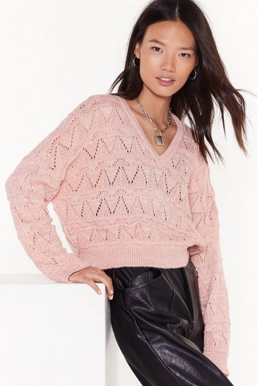 Womens Baby pink You Didn't V Knit Coming Pointelle Cropped Sweater