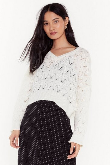 Cream You Didn't V Knit Coming Pointelle Cropped Sweater