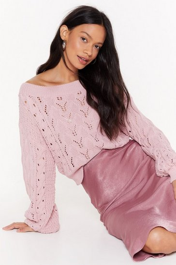 Womens Blush Pointelle You Out Balloon Sleeve Knitted Sweater