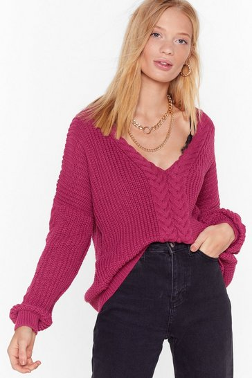 Womens Raspberry Ready Waiting and Cable Knitted V-Neck Sweater
