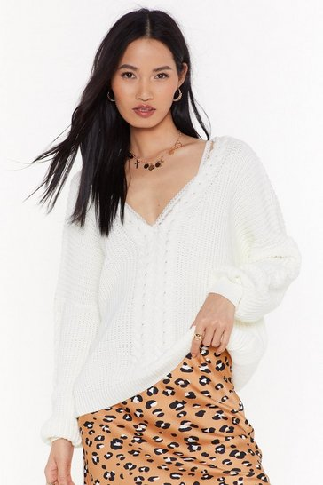 Womens White Ready Waiting and Cable Knitted V-Neck Sweater