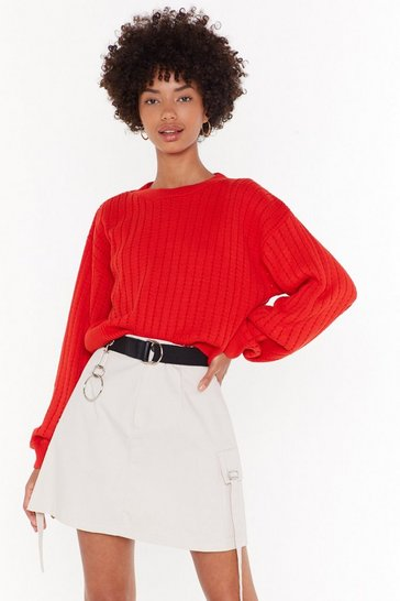 Womens Orange Get Knit Done Cropped Sweater