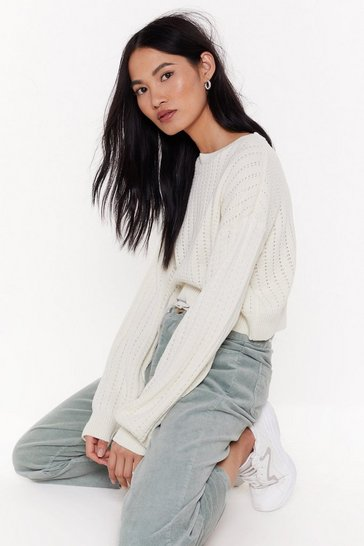 Womens White Get Knit Done Cropped Sweater